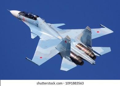 KUBINKA, MOSCOW REGION, RUSSIA - MAY 12, 2018: Sukhoi Su-30SM of Russian air force at Kubinka air force base.