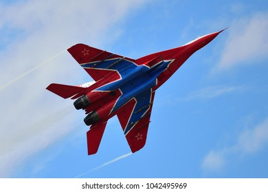 Kubinka, Moscow region, Russia - September 07, 2016. Russian MIG-29 (FULCRUM) from aerobatic team STRIZHI in International Military-Technical Forum ARMY-2016.