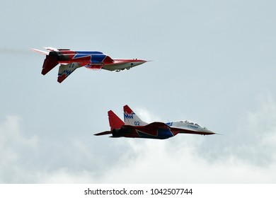 Kubinka, Moscow region, Russia - September 07, 2016. Two Russian MIG-29 (FULCRUM) from aerobatic team STRIZHI in International Military-Technical Forum ARMY-2016.
