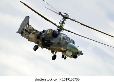 Kubinka, Moscow region, Russia - September 07, 2016. Russian attack military helicopter Hokum B (Kamov Ka-52) in International Military-Technical Forum ARMY-2016.