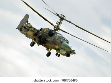 Kubinka, Moscow region, Russia - September 07, 2016. Russian attack military helicopter Hokum B (Kamov Ka-52) in International Military-Technical Forum ARMY-2016.