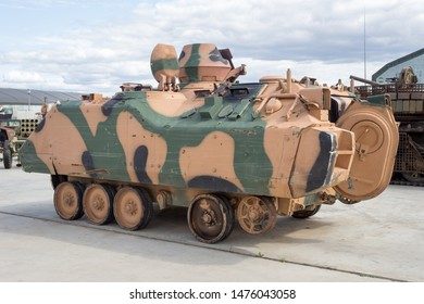 "Kubinka / Russia - 07 30 2019: Exposition of improvised military equipment captured in Syria from militants of the Islamic state (ISIS, ISIS). Military-patriotic park ""Patriot""."