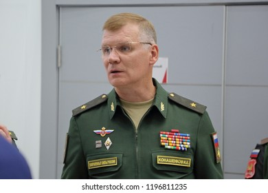 KUBINKA, RUSSIA - AUG 21, 2018: Igor Konashenkov - Head of the press service and information of the Ministry of defense of the Russia at the International military-technical forum ARMY-2018