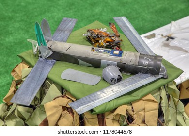 """KUBINKA, RUSSIA - AUG 22, 2018: International military-technical forum ARMY-2018. The Syrian exhibition. American strike unmanned aerial vehicle """"Switchblade"""" captured from terrorists in Syria"""