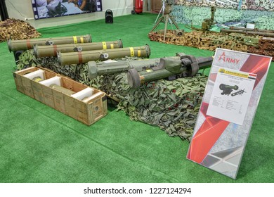 "KUBINKA, RUSSIA - AUG 22, 2018: International military-technical forum ARMY-2018. The Syrian exhibition. American ATGM ""TOW"", ""Javelin"" and European ""Milan"" captured from terrorists in Syria"