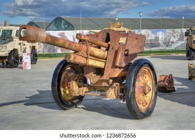 KUBINKA, RUSSIA - AUG 22, 2018: International military-technical forum ARMY-2018. Syrian exhibition. German light field howitzer leFH 18 during world war II, captured from terrorists in Syria