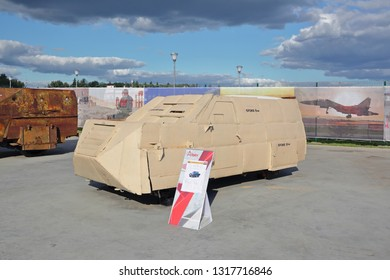 KUBINKA, RUSSIA - AUG 22, 2018: International military-technical forum ARMY-2018. Syrian exhibition. Converted into a homemade armored Toyota Land Cruiser Pickup captured from terrorists in Syria