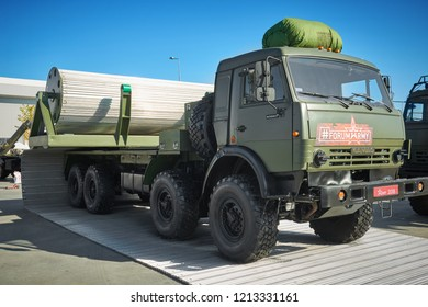 KUBINKA, RUSSIA, AUG.24, 2018: Military heavy truck KVD on KAMAZ 63501 chassis with aluminium foldable temporary road. Russian weapons exhibition Army 2018