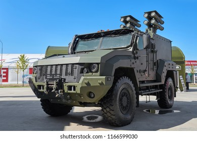 KUBINKA, RUSSIA, AUG.24, 2018: View on heavy military armored 4WD vehicle Typhoon K-53949 for troopers and different weapon transportation. Multipurpose military cars, trucks on exhibition Army 2018