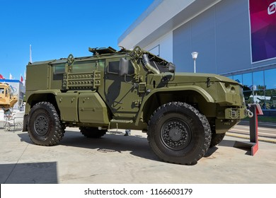 KUBINKA, RUSSIA, AUG.24, 2018: View on heavy military armored 4WD vehicle Typhoon K-4386 for troopers and different weapon transportation. Multipurpose military cars, trucks on exhibition Army 2018