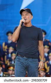 KUBINKA, RUSSIA - JUN 19, 2015: The Oleg Gazmanov - Russian pop singer, composer and poet at the closing ceremony of the International military-technical forum ARMY-2015 in military-Patriotic park