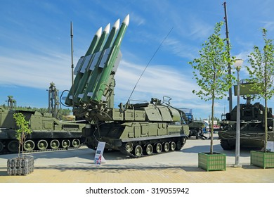 KUBINKA, RUSSIA - JUN 19, 2015: International military-technical forum ARMY-2015 in military-Patriotic park. The Buk (SA-11 Gadfly) - russian self-propelled, medium-range surface-to-air missile system