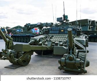 "Kubinka, Russia - June 17, 2015: Tank with mine trawl. International Military-Technical Forum ""Army-2015"", the park ""Patriot"", Moscow region"