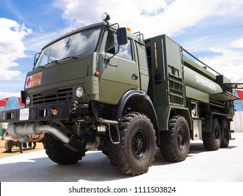 "Kubinka, Russia - June 17, 2015: Military truck for transportation diesel fuel ""Kamaz"". International Military-Technical Forum ""Army-2015"", the park ""Patriot"", Moscow region."
