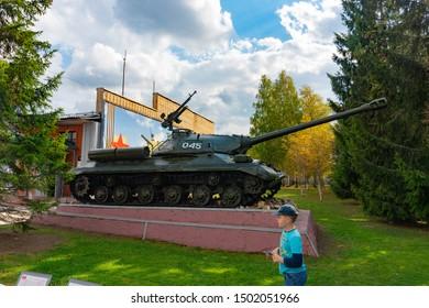 "Kubinka, Russia, September 2019. Kubinka tank museum, at the ""Patriot"" park. IS-3 heavy tank from 1940s by the pavilion ""Heavy tanks""."