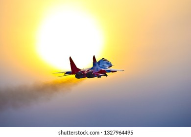 Kubinka,Moscow Region, Russia - December 07,2016: Mig-29 jet team Swifts in evening sun.
