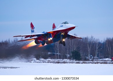 Kubinka,Moscow Region, Russia - December 07,2016: Mig-29 of aerobatic team Swifts taking off with afterburner.