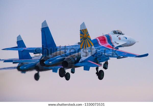 Kubinka,Moscow Region, Russia - December 07,2016: Su-27 aerobatic team Russian Knights taking off.