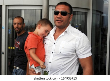 Kubrat Pulev with his son, sent his smaller brother Tervel Pulev for the London Olympics. Sofia, Bulgaria 30 July 2012