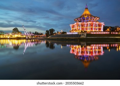 Kuching City during blue hour. Kuching is capital city for Sarawak. Noise slightly visible due to long exposure shot. - Shutterstock ID 2035503662