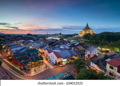 Kuching City during sunset. Kuching is capital city for Sarawak.