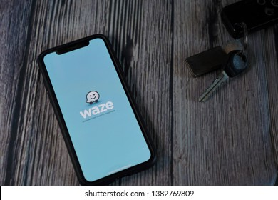 Kuching, Malaysia - April 2019. An iphone screen showing WAZE applications, WAZE is the world most famous free GPS apps