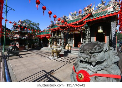 KUCHING, MALAYSIA - FEBRUARY 08, 2019 : The Hong San Si temple, one of the popular tourist spots in Kuching, is a Taoist temple of the Hokkien community.