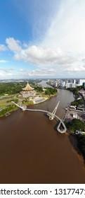 KUCHING, MALAYSIA - FEBRUARY 09, 2019 : Aerial view of beautiful Kuching city by the Sarawak River in Malaysia.