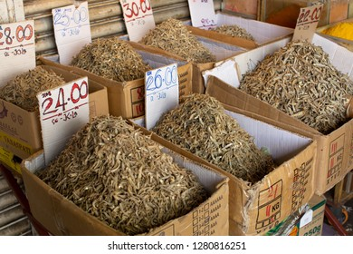 Kuching, Malaysia, January 3, 2019: Small dried fish for sale in the Little India area of Kuching, in the state of Sarawak, Malaysia