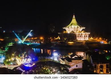 Kuching, Malaysia - June 2019. Dewan Undangan Negeri Sarawak or Sarawak Legislative Buildings at night