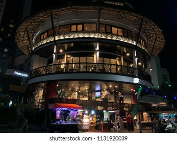 Kuching, Sarawak - 15 April 2018 : Cafe' and restaurant was located at nice building viewed of Sarawak River.