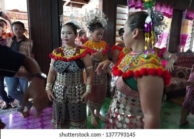 kuching sarawak 2 march 2019 : gawai festival day celebration at the longhouse with many dayak people using traditional dayak costumes