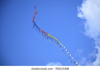 kuching sarawak august26th 2017 : kites and blue clouds