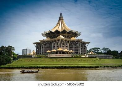 Kuching, Sarawak, Malaysia - Circa November 2013 - A shot of Sarawak State Legislative Assembly Building located next to the Sarawak River in Kuching, Sarawak