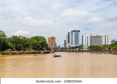 Kuching, Sarawak, Malaysia - July 16 2017: Ensemble of hotel buildings (Hilton, Parkson and Pullman), seen from Sarawak River.