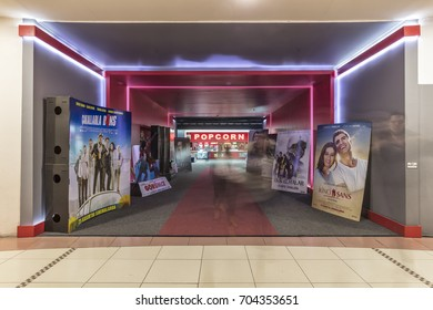 """Kucukcekmece,Turkey, SHOPPING MALL """"MEGA"""" - December 01 2016:The Arena Park shopping center movie theater is the poster of the movies on the vista."""
