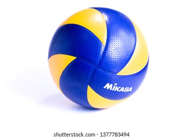 Kudat, Malaysia - 23 April 2019 : Mikasa indoor volleyball ball isolated on white background. Mikasa is World top brand in volleyball sports.