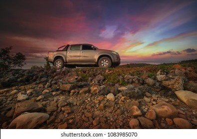 Kudat , Malaysia - 27 July 2017 : Toyota hilux pick-up with amazing sky background.