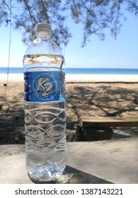 KUDAT, SABAH - APRIL 19, 2019: Drinking water or mineral water brand K2 at beach.