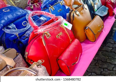 Kudat,Sabah-Feb 3,2018:Counterfeit famous branded bags for sales in the street of Kudat,Sabah.Its a like and is renowned for the sale of counterfeit goods at well below normal retail prices.