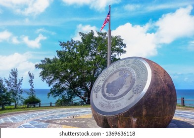 Kudat,Sabah,Malaysia-Feb 3,2018:The bronze globe monument in the Tip of Borneo in Kudat,Sabah.The globe marks the location of Tanjung Simpang Mengayau,Kudat,Sabah the northernmost tip of Borneo.