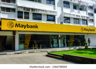 Kudat,Sabah,Malaysia-Feb 3,2018:View of Maybank branch building in Kudat,Sabah,Malaysia.Maybank is the largest bank & financial group with 401 domestic branches in Malaysia.
