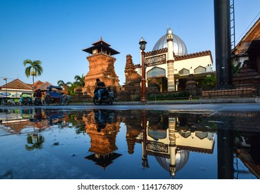 KUDUS, INDONESIA - June 06 2018: Reflection Mosque Tower of Kudus located in Kudus, Central Java, Indonesia in the morning