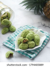 Kue Kering Nastar Daun. Pineapple Tart leaves shape with green dough and pandan flavor.  Usually served during Eid al-Fitr and Eid al-Adha.
