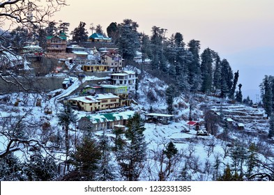 Kufri, Shimla, Himachal Pradesh, India, Circa 2019. View of Kufri village 15 Kms above Shimla at sunset. It is a popular winter getaway where people come to enjoy snowfall, skiing and winter sports.