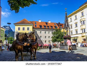 Kufstein, Austria - August 20: famous old town with historic buildings and murals in Kufstein on August 20, 2020