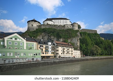 Kufstein, Austria - May 5, 2018. Kufstein fortress on a hilltop over river, Tyrol. The fortress dominated over the Inn river trade path in the Medieval era.