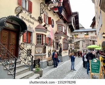 Kufstein, Austria - November 2019: Autumn day in Kufstein Old Town, Austria