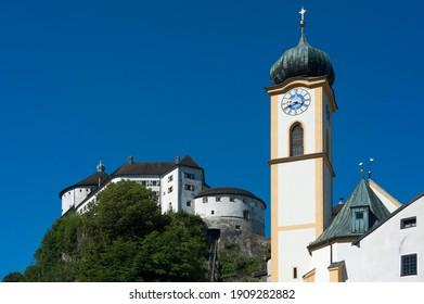 Kufstein fortress with parish church of St. Vitus, Kufstein District, Tyrol, Austria