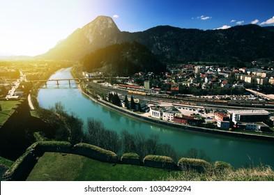 Kufstein town with Inn river in Austria